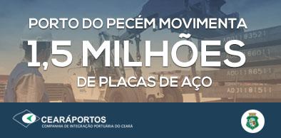 Porto do Pecém chega a 1,5 milhões de toneladas de placas de aço exportadas | Ceará Portos