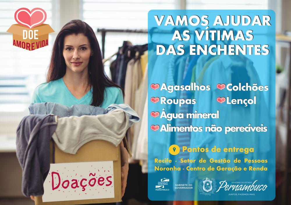 Fernando de Noronha inicia campanha de arrecadação de donativos para os desabrigados em PE | Governo de Pernambuco